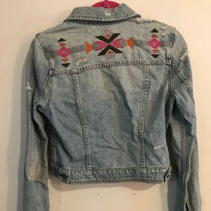 Boho Distressed Jean Jacket